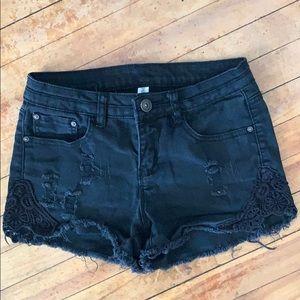 Cute denim lace shorts